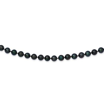 14k White Gold 7-8mm Round Black Saltwater Akoya Cultured Pearl Necklace