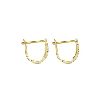 14K Yellow Gold Fan 10mm Diamond Huggie Earrings