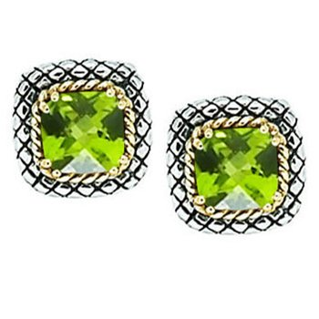 18kt and Sterling Silver Cushion Peridot Button Earrings