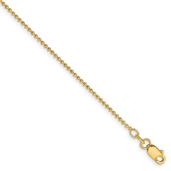 14k 1.2mm D/C Beaded Chain Anklet