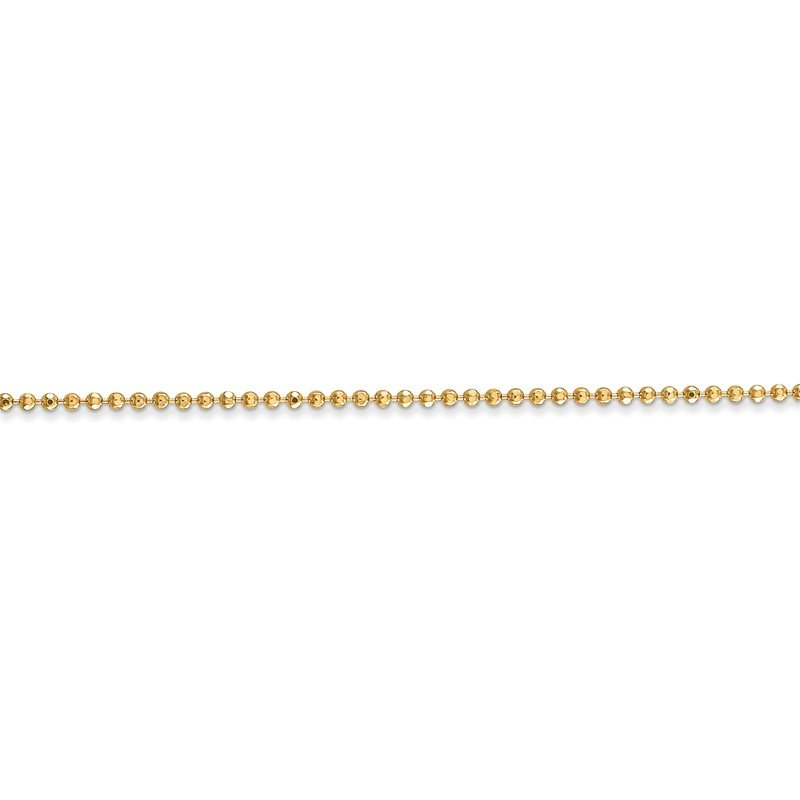Quality Gold 14k 1.2mm D/C Beaded Chain Anklet