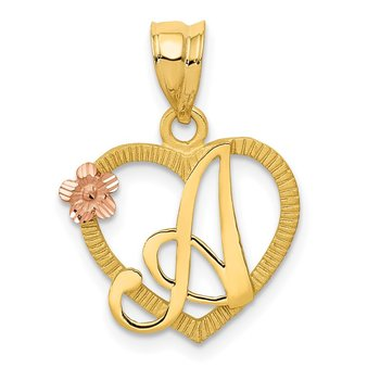 14k Two-Tone Heart Letter A Initial Pendant