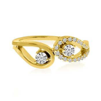 14K Yellow Gold Eyelet Design Two-Stone Diamond Ring