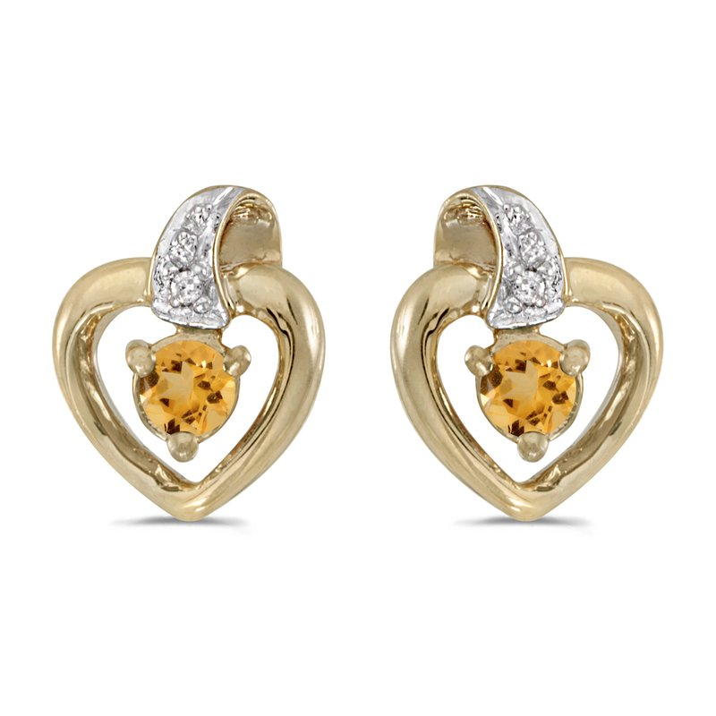 Color Merchants 10k Yellow Gold Round Citrine And Diamond Heart Earrings