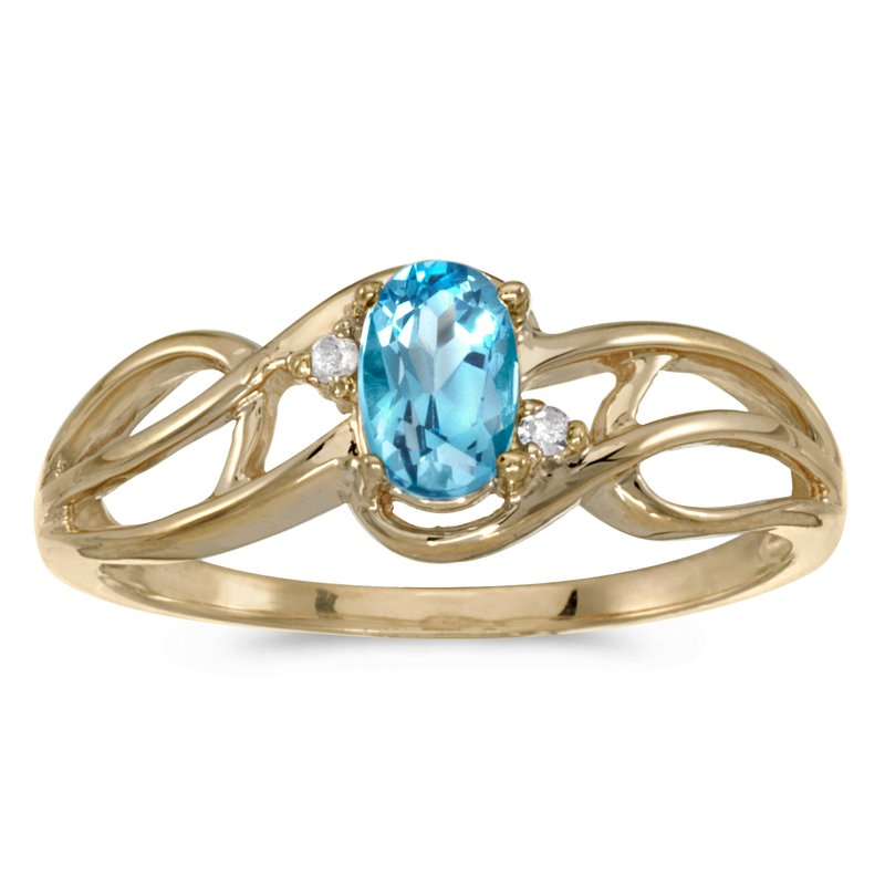Color Merchants 14k Yellow Gold Oval Blue Topaz And Diamond Curve Ring