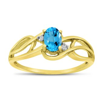 14k Yellow Gold Oval Blue Topaz And Diamond Curve Ring