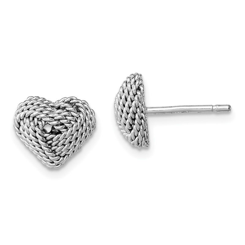 Fine Jewelry by JBD Sterling Silver Rhodium-plated Small Twisted Knot Heart Post Earrings
