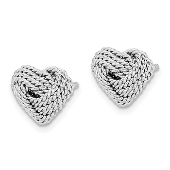 Sterling Silver Rhodium-plated Small Twisted Knot Heart Post Earrings
