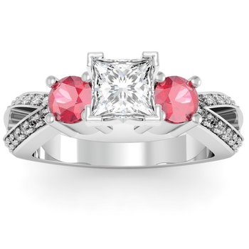 Ruby Accented Pave Diamond Engagement Ring
