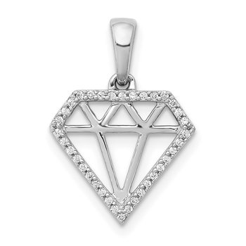 14k White Gold Diamond Gemstone-shape Pendant