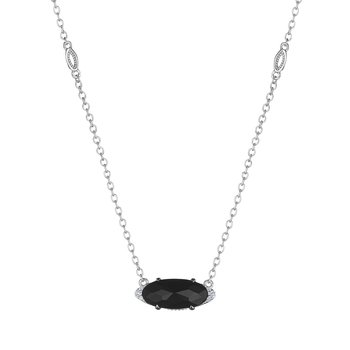 Solitaire Oval Gem Necklace with Black Onyx
