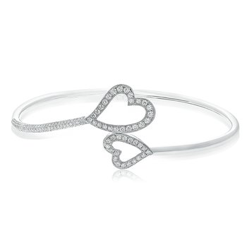 White Diamond Heart Bangle