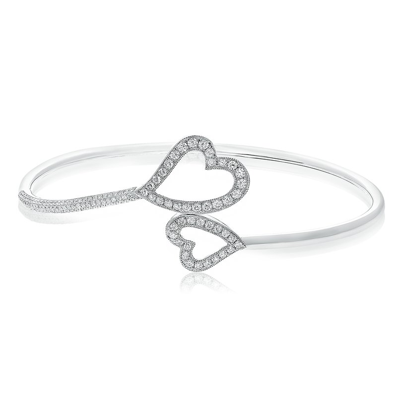 Roman & Jules White Diamond Heart Bangle