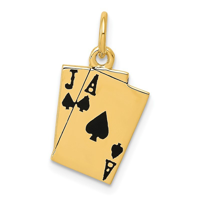 Quality Gold 14k Enameled Blackjack Playing Cards Charm