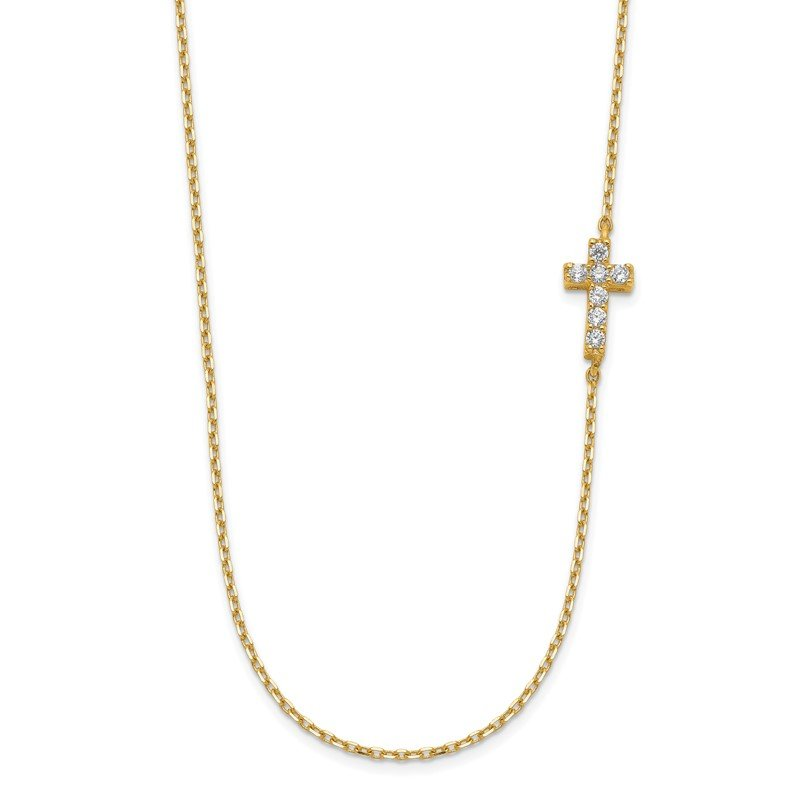 Quality Gold 14K Small Cross CZ with 2IN EXT Necklace