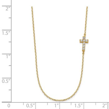 14K Small Cross CZ with 2IN EXT Necklace