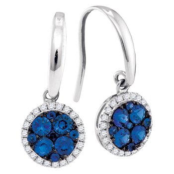 14kt White Gold Womens Round Blue Sapphire Cluster Dangle Earrings 7/8 Cttw