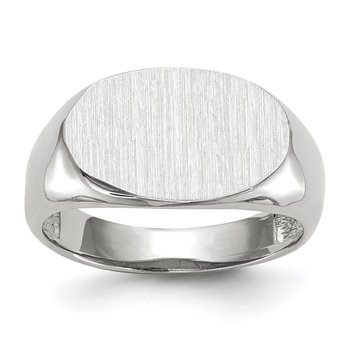 14k White Gold 9.5x15.0mm Open Back Signet Ring