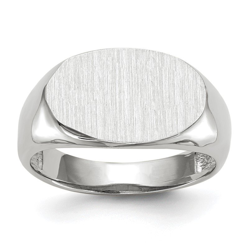 JC Sipe Essentials 14k White Gold 9.5x15.0mm Open Back Signet Ring