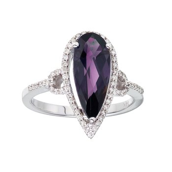 14k White Gold Long Pear Amethyst And Diamond Ring