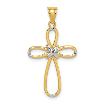 14K & White Rhodium Polished D/C Cross Pendant