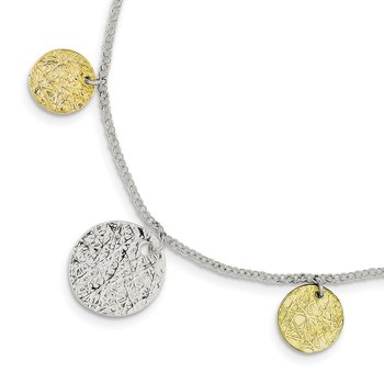 Sterling Silver and Vermeil Polished and Textured Bracelet