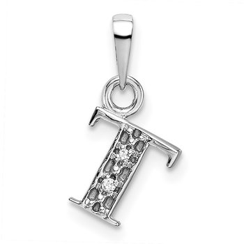 14KW Rhodium-plated Diamond Letter T Initial Pendant