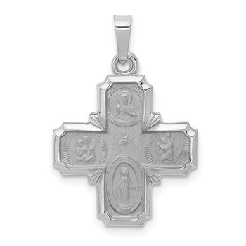 14k White Gold Polished / Satin Four Way Medal Hollow Pendant