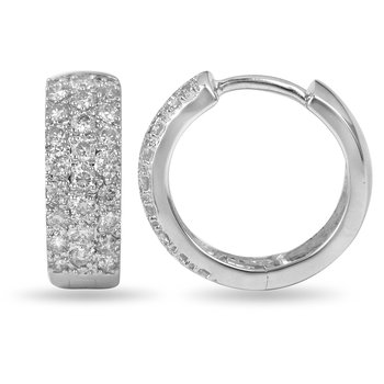 14K WG Diamond 15 MM 3-Row Round Huggy Earrings