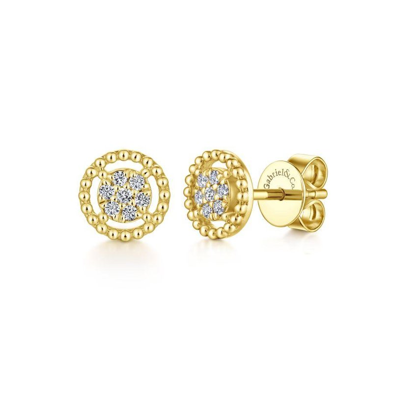 Gabriel & Co. New York 14K Yellow Gold Beaded Round Frame Diamond Cluster Stud Earrings