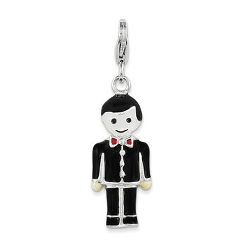 Sterling Silver Rhodium-plated w/ Lobster Clasp Black Enamel Groom Charm