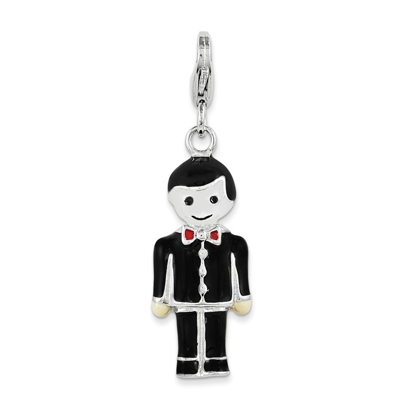 Quality Gold Sterling Silver and Black Enamel Groom w/ Lobster Clasp Charm