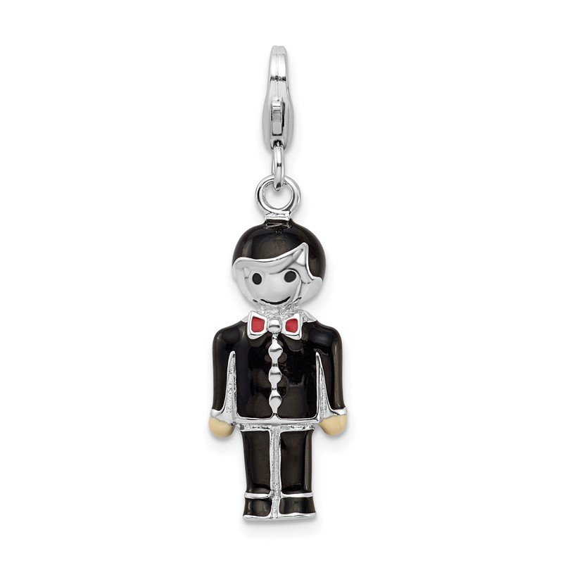 Quality Gold Sterling Silver Rhodium-plated w/ Lobster Clasp Black Enamel Groom Charm