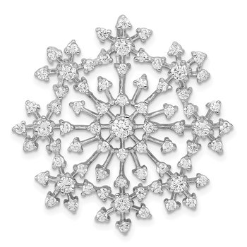 Sterling Silver Rhodium-plated CZ Starburst Snowflake Slide