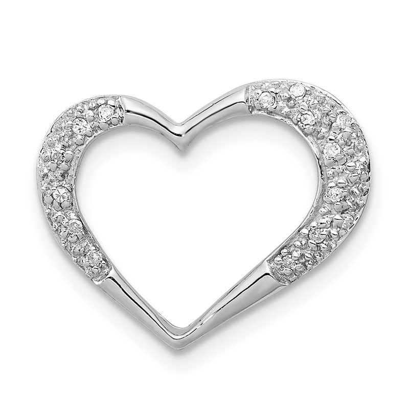 Quality Gold Sterling Silver Rhodium Diamond Heart Chain Slide