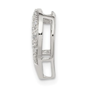 Sterling Silver Rhodium Diamond Heart Chain Slide