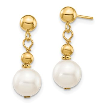 14K 7-8mm White Semi-round Freshwater Cultured Pearl Dangle Post Earrings