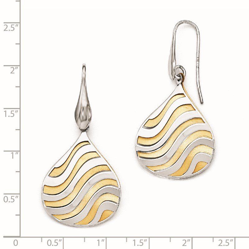 Leslie's Leslie's Sterling Silver Gold-plated Polished Matte Dangle Earrings