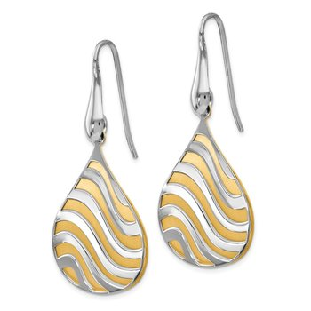 Leslie's Sterling Silver Gold-plated Polished Matte Dangle Earrings