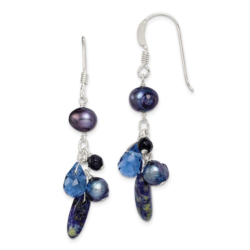Quality Gold Sterling Silver Blue Sandstone/Dark Blue FW Cultured Pearl Earrings