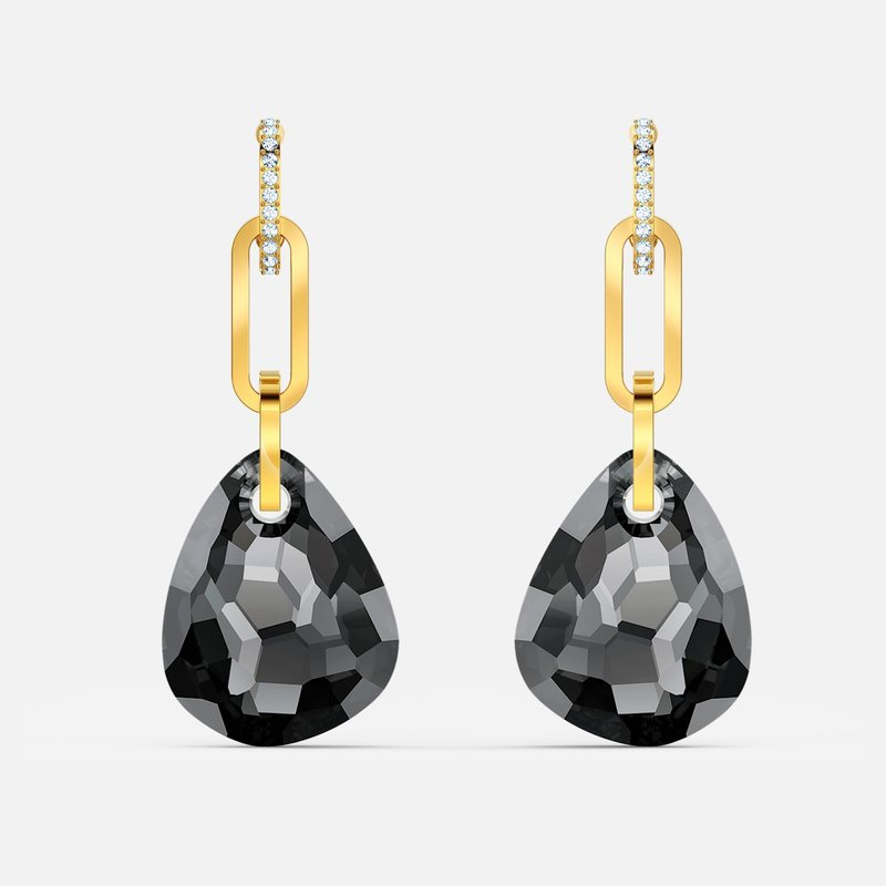 Swarovski T Bar Pierced Earrings, Medium, Gray, Gold-tone plated