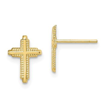 10K Yellow Gold Polished Cross Post Earrings