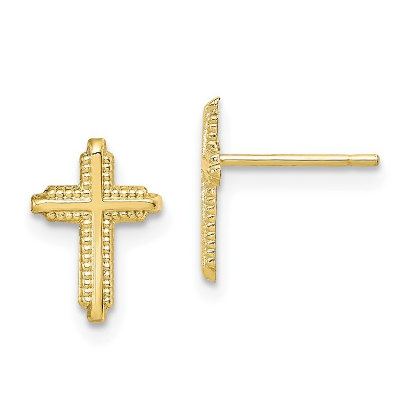Quality Gold 10K Yellow Gold Polished Cross Post Earrings