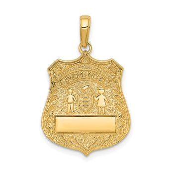 14k Large Police Badge Pendant