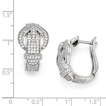 SS Rhodium-Plated CZ Brilliant Embers Buckle Hinged Post Earrings