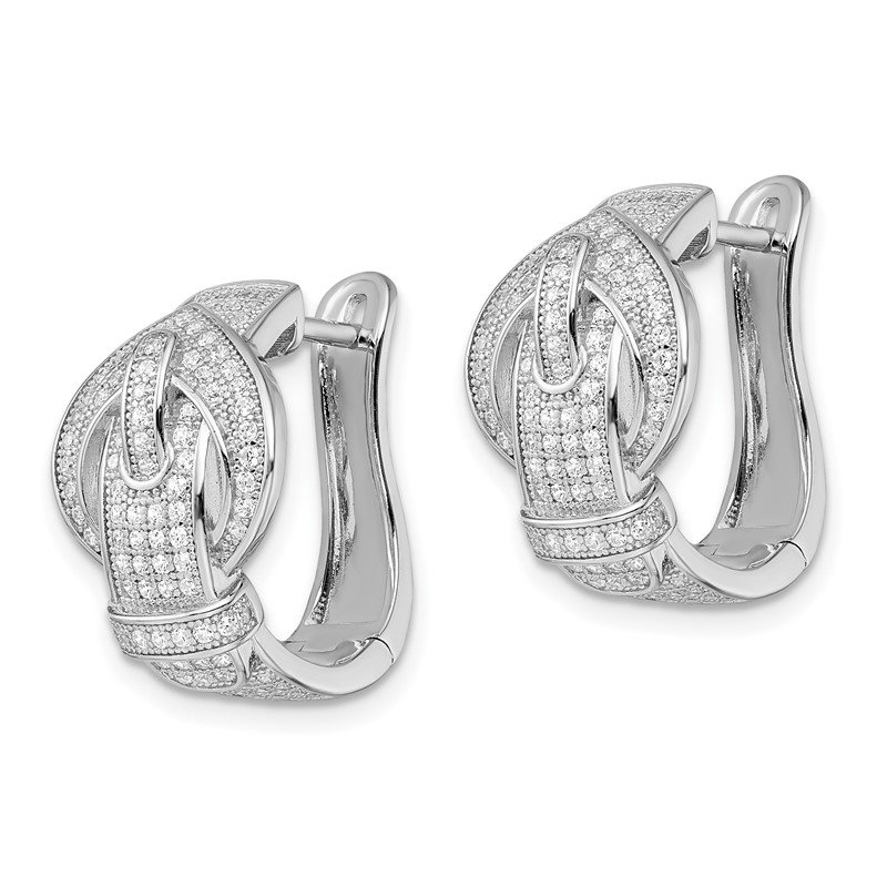 Quality Gold SS Rhodium-Plated CZ Brilliant Embers Buckle Hinged Post Earrings