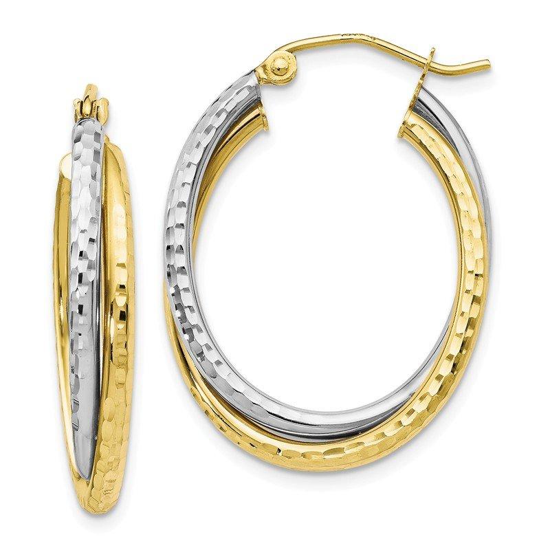 36868b262b5c8 Hobbs Jewelers: Leslie's Leslie's 10K Two-tone Textured Hinged Hoop ...
