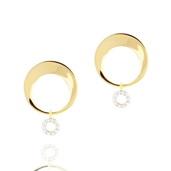 Yellow gold diamond Affair crescent loop earrings