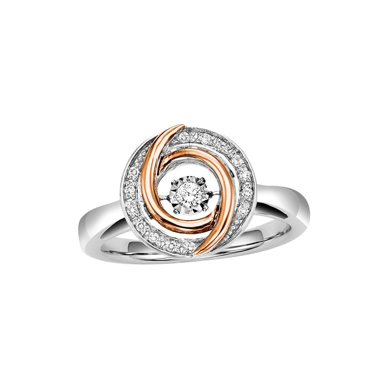 Rhythm of Love 10KP & Silver Diamond Rhythm Of Love Ring 1/10 ctw
