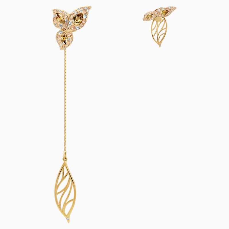 Swarovski Graceful Bloom Mistmatched Earrings, Brown, Gold-tone plated